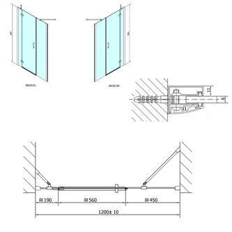 VITRA LINE Duschtür 1200mm, links, Klarglas