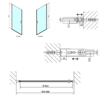 ZOOM LINE Duschtür 900mm, Klarglas