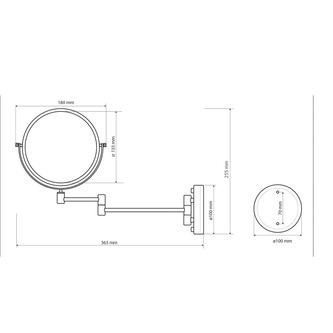 Hängender Kosmetik Spiegel Durchmesser 150 mm, bronze