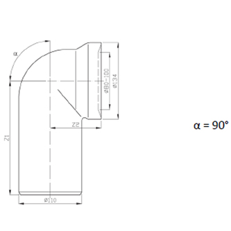 WC-Anschlussbogen 90°