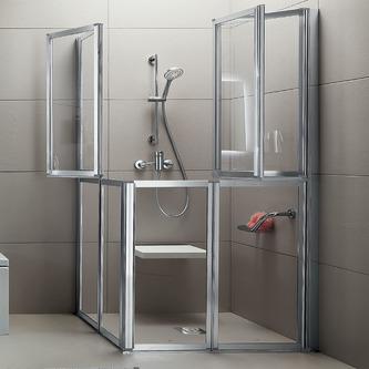 Quadrat-Duschkabine HELP mit Falttüren, geteilt, Größe nach Wahl, Acryl-oder Klarglas