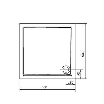 AURA Gussmarmor-Duschwanne, Quadrat 80x80x4cm,
