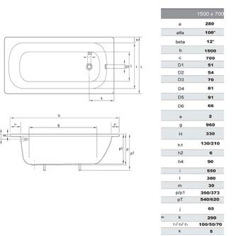 Emaille-Sitzwanne Rechteck 150x70x38cm, weiß