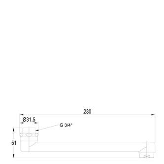 Wasserauslauf, 20cm, flach, Chrom