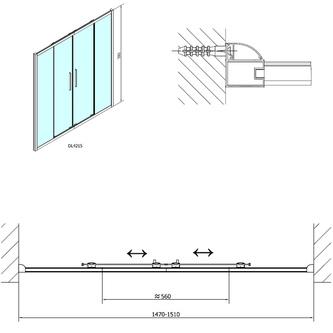 LUCIS LINE Duschtür 1500mm, Klarglas