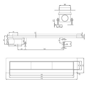 FLOW 77 Duschrinne mit befliesbarem Rost 770x150mm