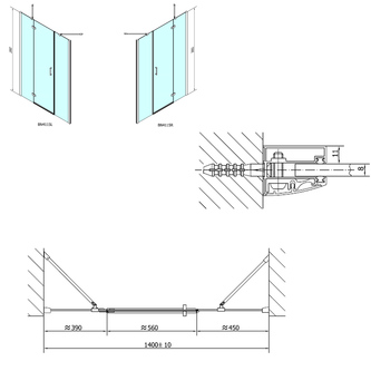VITRA LINE Duschtür 1400mm, rechts, Klarglas