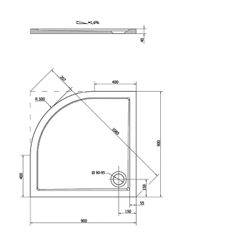 SERA Duschwanne, Viertelkreis 90x90x4cm, R500