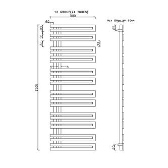 VOLGA Heizkörper 500x1500mm, 465W, gebürsteter Edelstahl