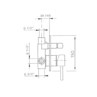 RHAPSODY Unterputz-Duscharmatur, 2 Wege, Chrom
