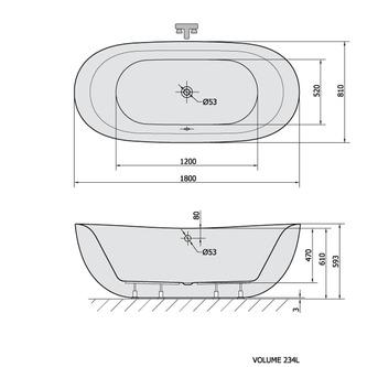 ZASU freistehende Badewanne 180x81x58, weiß