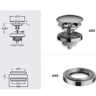 Nicht verschließbare Ablaufgarnitur für Waschtische o. Überlauf, H. 5-60, Chrom