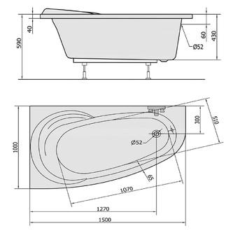 NAOS 150 L Badewanne mit Füßen 150x100x43cm, links, weiß