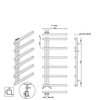 SIERRA Heizkörper 500x1000mm, gebürsteter Edelstahl