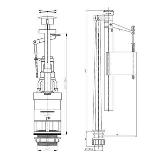 Spülgarnitur mit Betätigungsplatte mit 2-Mengen-Spülung, 1/2', Chrom