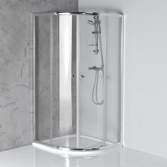 ARLETA Duschabtrennung Viertelkreis 800x800mm, Klarglas
