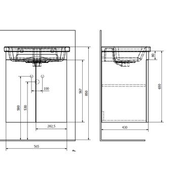 ELLA Unterschrank 56,5x65x43cm, 2x Tür, weiß