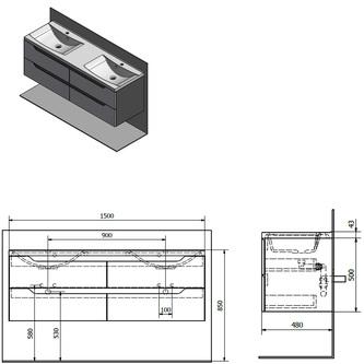 WAVE Doppelunterschrank 150x50x48cm, weiß/Silbereiche