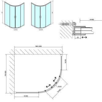 EASY LINE Duschabtrennung Viertelkreis 1000x800mm, L/R, Klarglas