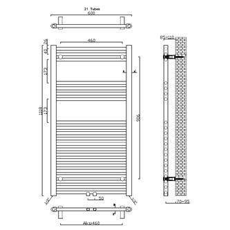 ALYA Badheizkörper gerade 600x1118 mm, Mittelanschluss, Chrom
