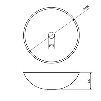 BLOK 1 Stein-Waschtisch Durchmesser 40cm, matt dunkel Stein