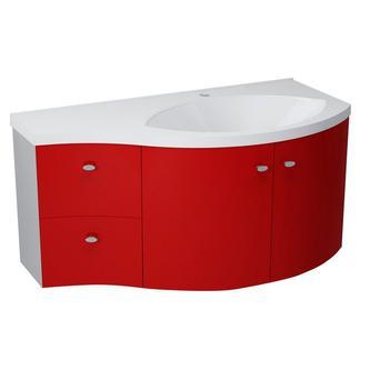 AILA Unterschrank 110x39cm, rot/silber, Schubladen links