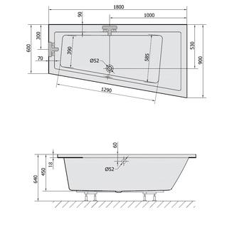 ANDRA R SLIM asymmetrische Badewanne 180x90x45cm, weiss