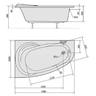 Raumspar Badewanne NAOS 158x100x43cm, links, weiß
