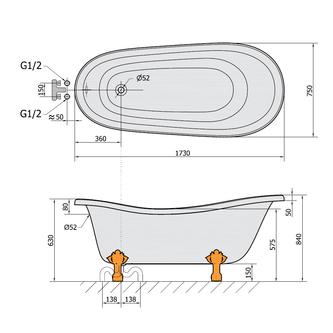 RETRO freistehende Badewanne 175x76x72cm, Füße Bronze