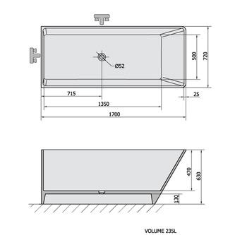 HERHIS freistehende Badewanne 170x72x63cm, weiß