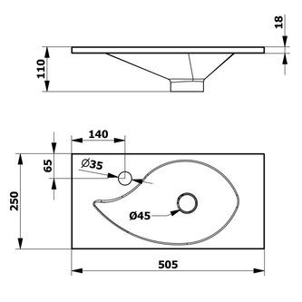 AQUA Gussmarmor-Waschtisch 50,5x1,8x25cm, weiss