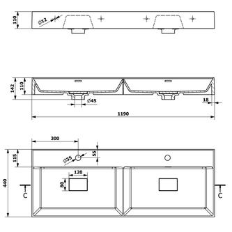 GODIVA Gussmarmor-Doppelwaschtisch 119x44cm, weiß