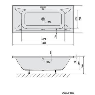 KRYSTA Rechteckwanne mit Füßen 180x70x39cm, weiß