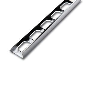 Edelstahl Fliesenschiene, mit Schutzfolie, Oberfläche verchromt, 250cm lang, 8 mm hoch