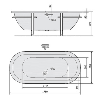 MATRIX C freistehende Badewanne 175x80x56cm, Gestell in Chrom