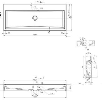 ORINOKO Gussmarmor-Waschtisch 100x10x42cm, weiß