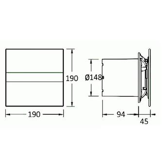 E-150 GTH Axial-Badlüfter mit Automat, 21W, Rohrleitung 150mm, weiß