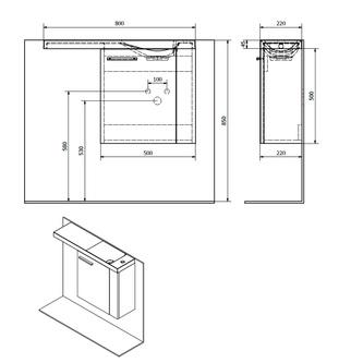 LATUS VI Unterschrank 50x50x22cm, rechts, Silbereiche