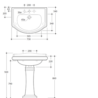 RETRO Keramik-Waschtisch 73x54cm