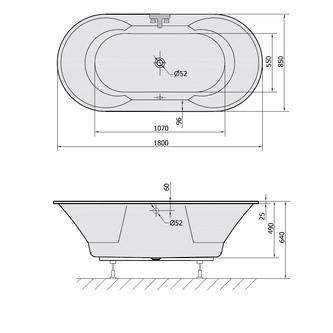 IO Ovale Badewanne mit Füßen 180x85x49cm, weiß