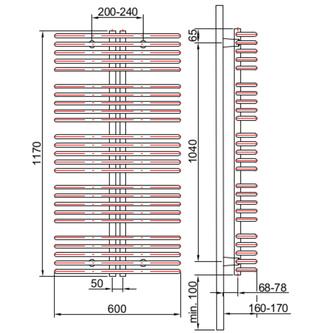 ASTRA Heizkörper 600x1170 mm, 850 W, silber