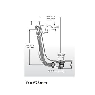 Bronze Ablaufgarnitur mit Einlauf, Länge 875mm, Stöpseldurchmesser 42mm