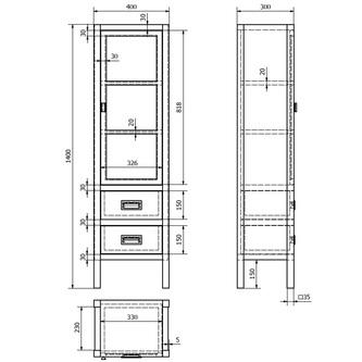 BRAND Schrank 40x140x30cm, 2x Schublade, Glastür, rechts, altweiß