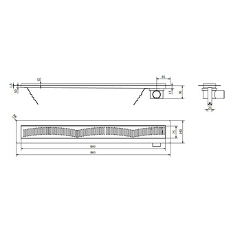 Vento Duschrinne mit Rost 860x140mm, inkl. Siphon, Edelstahl
