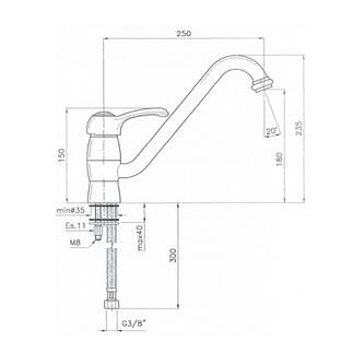 VANITY Küchenarmatur, 235mm Chrom