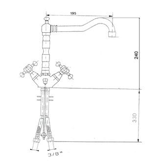 ANTEA Waschtischarmatur mit Retro-Einlauf, inkl. Ablaufgarnitur, 240mm Chrom