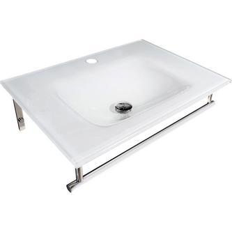 MADLEN Glaswaschtisch mit Edelstahlstütze 70x50 cm, weiß