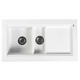 Granitspüle mit Abtropffläche und Nebenbecken 100x53,5 cm weiß