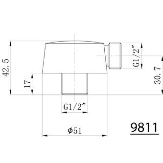 Duschanschluss, Durchmesser 57mm, Chrom