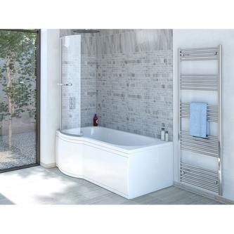 SKALI Badewanne mit Duschzone 167,5x85/75x40 cm, links, weiß